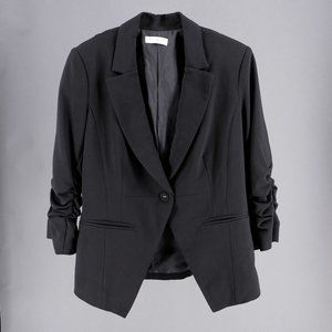 Modern Classic Black Blazer with Ruched Sleeves